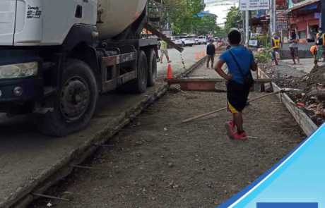 Pouring Filmix ready mix concrete at Jacinto Street, Davao City