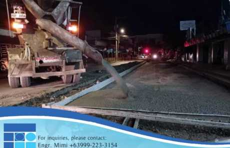 Filmix ready mix concrete pouring at Davao City street