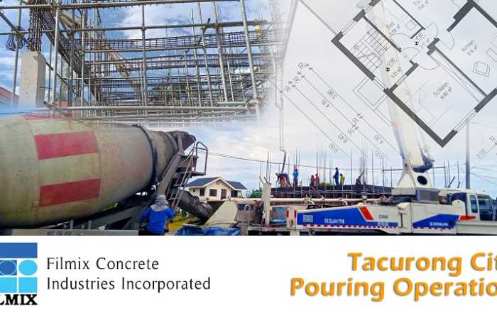Filmix pouring ready mix concrete for residential building in Tacurong City